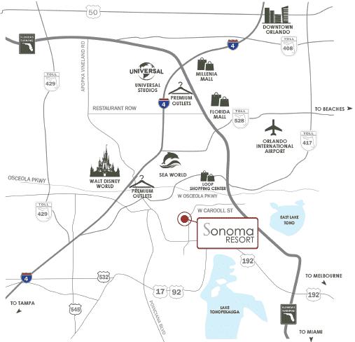 Kissimmee Florida Map.Sonoma Resort Location Map Kissimmee Florida