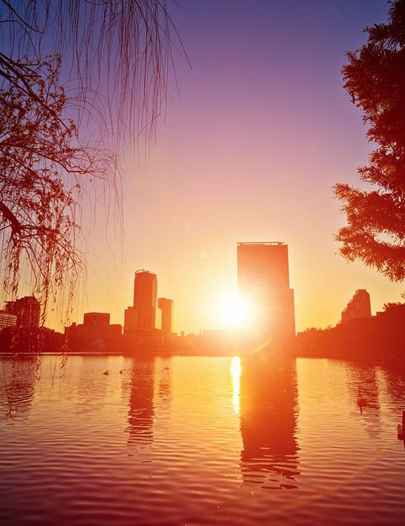 Sunrise over Orlando skyline at Lake Eola