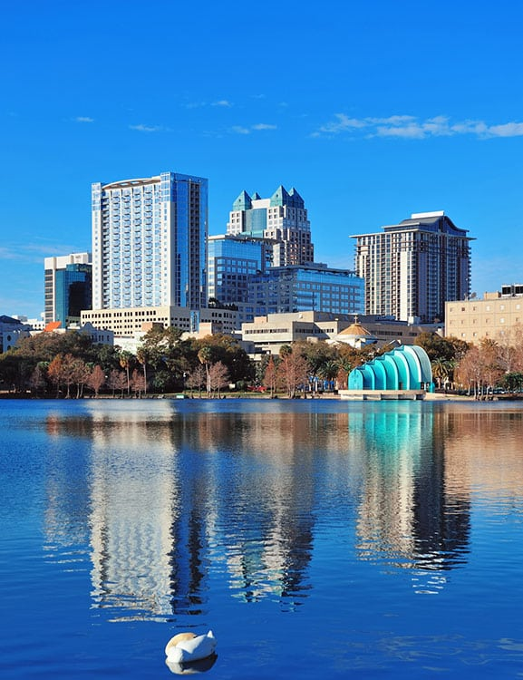 Lake Eola with Downtown Orlando sky-line in background