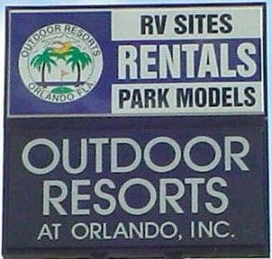Outdoor Resort Orlando 55 Plus community Entrance sign