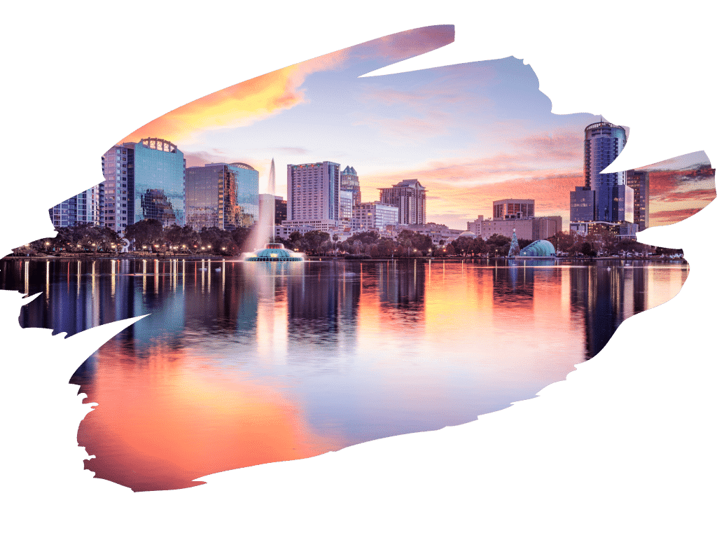 Artistic view of downtown Orlando skyline