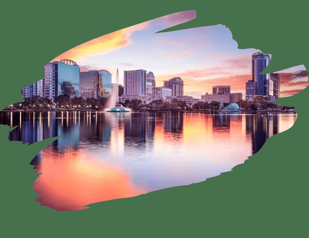 Artistic view of downtown Orlando skyline
