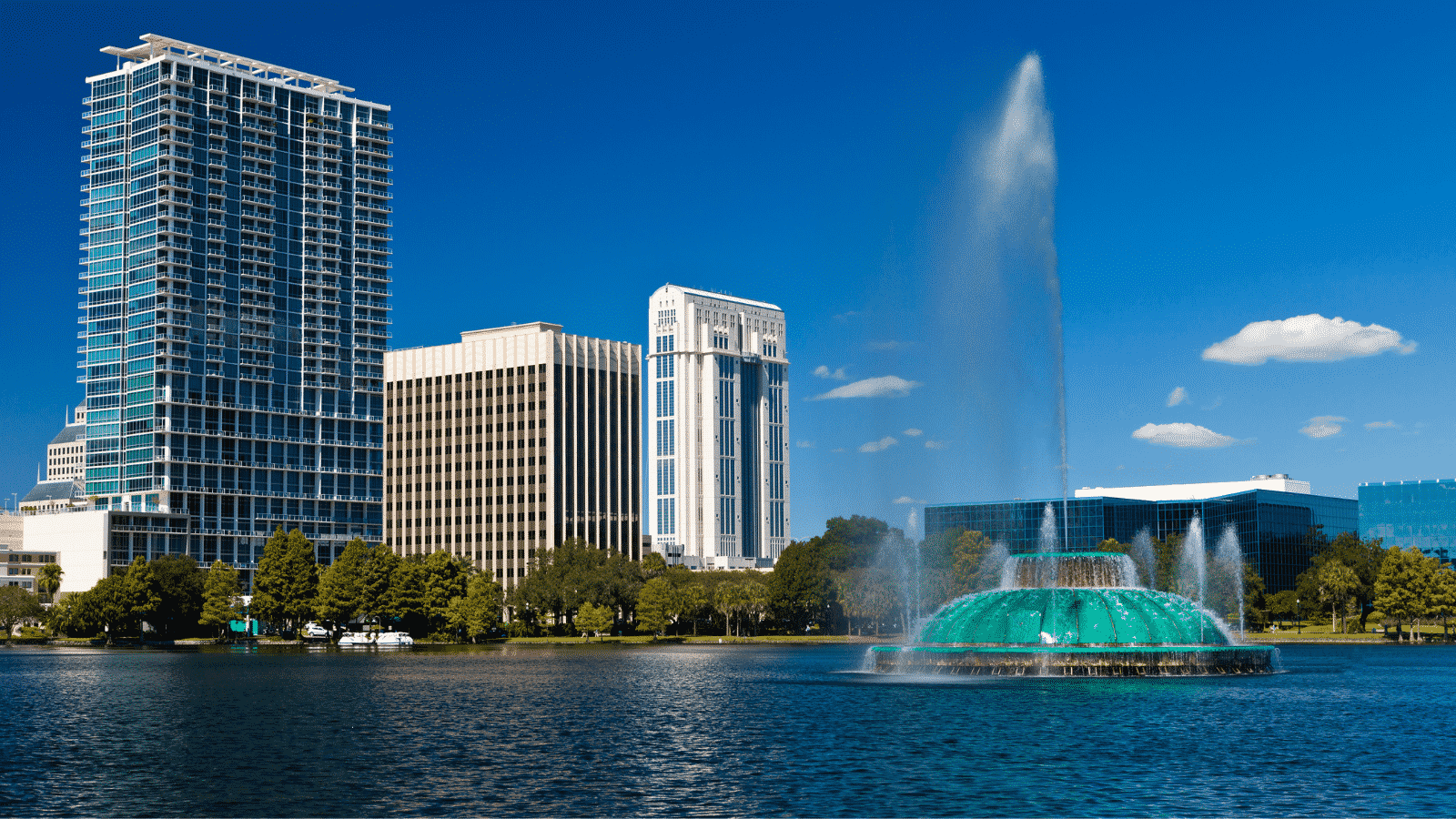 Downtown Orlando Lake Eola during the day