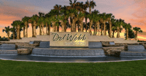 Del Webb water fountain entrance with huge palm trees surrounding