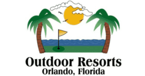 Outdoor Orlando Resorts logo overlooking the water and palm trees
